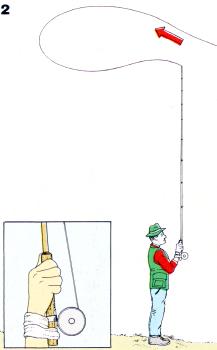 Beim Werfen mit der Fliegenrute